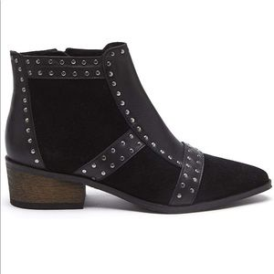 Sorento Studded Black Leather Ankle Boots Booties